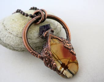 Red River Jasper & Rough Amethyst Copper Necklace, Electroform Copper, Boho Necklace, Jasper Pendant