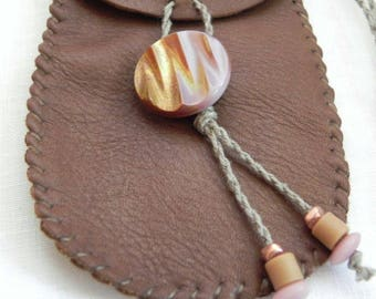 Hand made leather medicine pouch