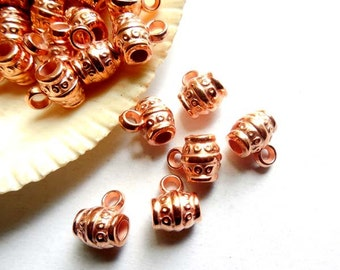 10 Rose Gold Plated Plastic Barrel Bails With Loop - 16-RG-2