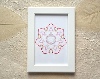 White frame with digital mandala, Mandala made in digital format and printed on photographic paper
