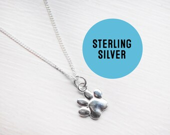 Sterling silver Paw Print Necklace - Tiny sterling Paw charm pendant - Paw Print necklace.