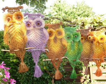 Macrame Owl - Different Colours - Hand Made with Natural Hemp String