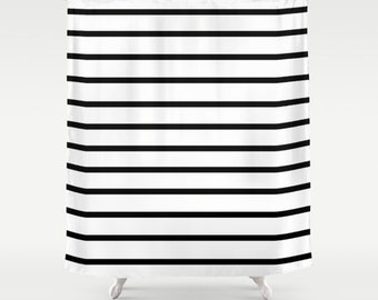 Striped Shower Curtain, Black and White Stripes Shower Curtain, Fabric Shower Curtain, Stripes, Kids Shower Curtain, Black and White