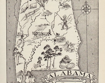 50's ALABAMA Picture Map of Alabama State Map Print Black and White Gallery Wall Art Library Office Decor  Birthday Gift for Wedding Friend