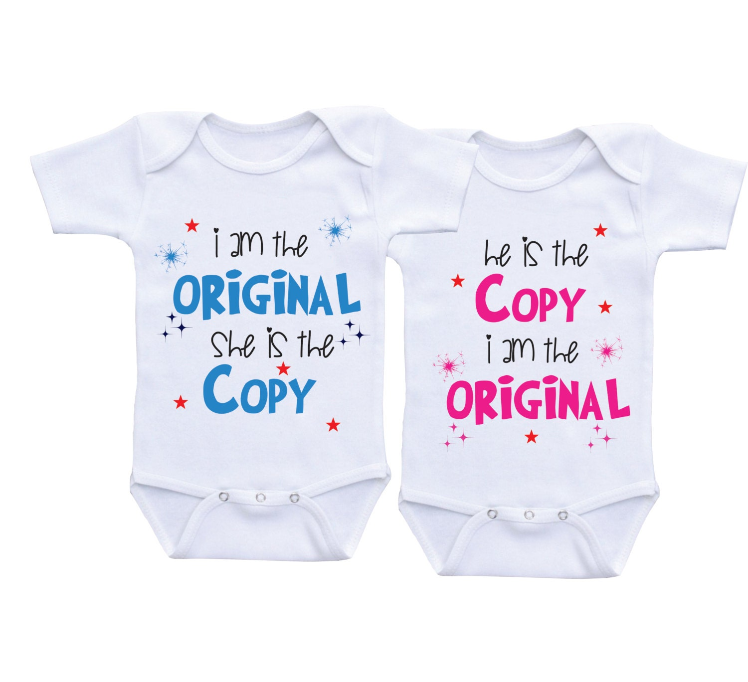 Funny Twin esie Twin outfits boy girl Twins baby t twins