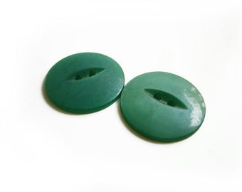 2 Large Green Vintage Button, 22mm