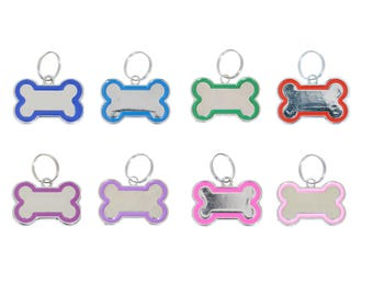 Metal Engraved Silver with Coloured Trim Bone Dog Tags - Pet ID Collar Charms