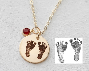 ACTUAL FOOTPRINT NECKLACE - Custom Footprint Jewelry - Baby Feet Necklace - New Mom Necklace Birthstone - Memorial Necklace  - Gold F,Silver