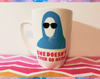 Mean Girls, She Doesn't Even Go Here!, Coffee mug, Glass, Damian, Movie, Quote, Coffee cup, Glass, Ceramic, On Wednesday's We Wear Pink