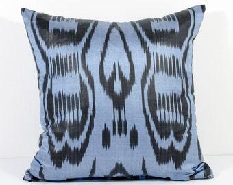 15x15 blue ikat pillow cover, blue pillows, blue cushion, blue ikat, black blue, accent pillow, Margilan ikat