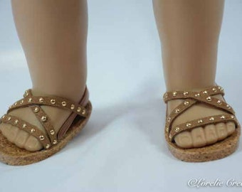 American Girl 18 inch doll SANDALS SHOES Flipflops in Tan Beige Faux Leather with Crisscross Straps with Gold Stud Accents with Heel Strap