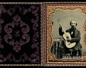 Excellent & Rare 1/4 Ambrotype Photo of Guitar Player / Musician / Music Teacher