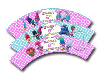 Trolls Customized Printable Cupcake Wrappers-Personalized Printable Trolls Liners- YOU PRINT-Digital file