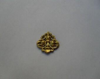 2 Vintage Brass Shield  Stamping  ..  B-4