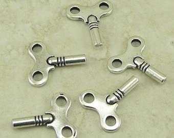 5 TierraCast Clock Winding Key Charms > Lock Skeleton Vintage Style - Fine Silver Plated Lead Free Pewter - I ship Internationally 2337