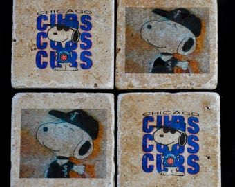 Chicago Cubs Chicago White Sox Coasters with Snoopy