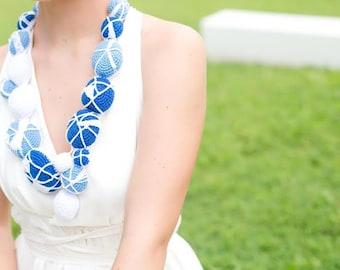 Sky Blue Contemporary -Statement Crochet Necklace