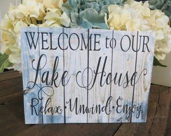 "Wood Lake Sign, ""Welcome to Our Lake House...Relax Unwind Enjoy"", Lake House Sign, Lake House Decor"