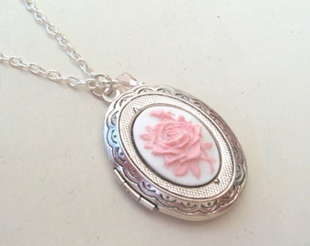 Silver Locket, English Rose Locket Necklace, Flower Locket, Silver Cameo Locket, Pink Rose Locket