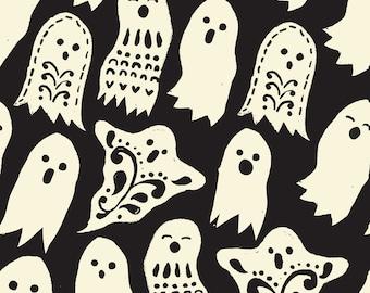 Black Halloween Fabric | Ghosts | Black and White | Vintage | Halloween Decor | Cute Ghost Print | Cute Halloween Fabric
