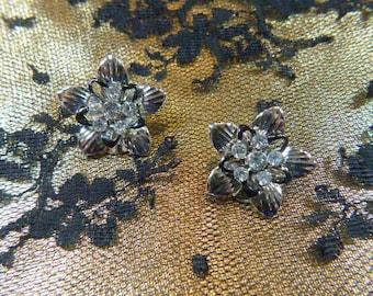 Vintage Silver and Rhinestone Flower Clip Earrings - V-EAR-156