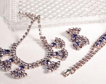 Hollywood Glamour Vintage Rhinestone Parure Jewelry Set