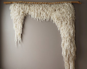 Woven Wall Hanging, Cotton Wool Tapestry, Handwoven Textile Art, Bohemian Weaving, Natural Rustic Textile, Boho Home Décor, Shag Ivory Weave
