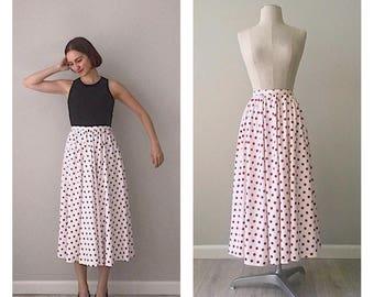 Handmade vintage 60s red polka dot full skirt   SMALL