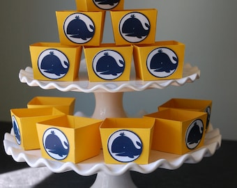 Whale Candy Cups, Nautical, Whale Favors, Whale  Party, Whale Theme, Whale Baby Shower, 12 Pcs, Yellow Navy