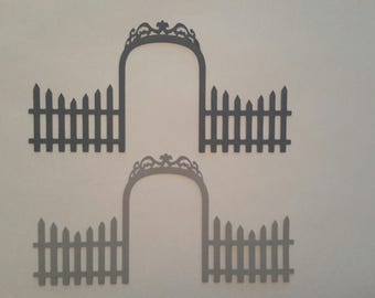 Arched gate with fence die cuts - Gate die cuts - Fence die cuts - Card making die cuts - Scrapbook embellishments