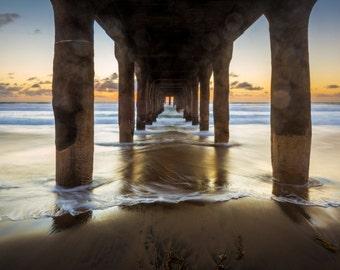 Beach, Surf Photography, Decor, Large Print Art, Ocean Sunset, Los Angeles, South Bay, Manhattan Pier, Redondo, Hermosa Beach Fine Art