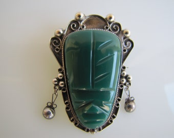 Mexican Sterling Silver Carved Green Malachite Figural Brooch. Aztec Face Mask And Head Dress. Pre Columbian Mayan. Vintage Taxco Jewelry