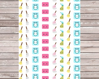 Kawaii Cleaning Planner Stickers Set of 86, Erin Condren Planner Stickers, ECLP, Filofax, Kikki K, Mambi, Happy Planner
