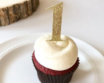 Gold cupcake toppers // Happy 1st birthday // One cupcake topper // Number 1 cupcake topper // Gold birthday