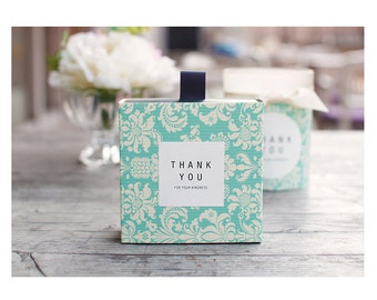 10 sets Soap gift box for one piece, Blue Vintage, Vintage paisley, only included handle ribbon and boxes(not thank you sticker)
