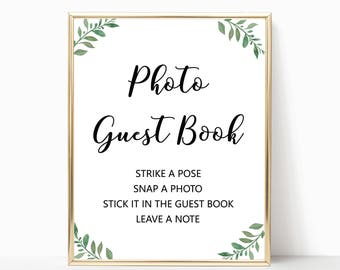 Greenery photo guest book sign printable, garden guest book sign wedding printables leaves guestbook sign, leaf wedding signs W05