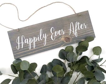 Happily Ever After Sign | Wedding Sign | Wedding Date Sign | Couples Gift | Wedding Gift | Wedding Photo Prop | Wedding Chair Sign | Rustic