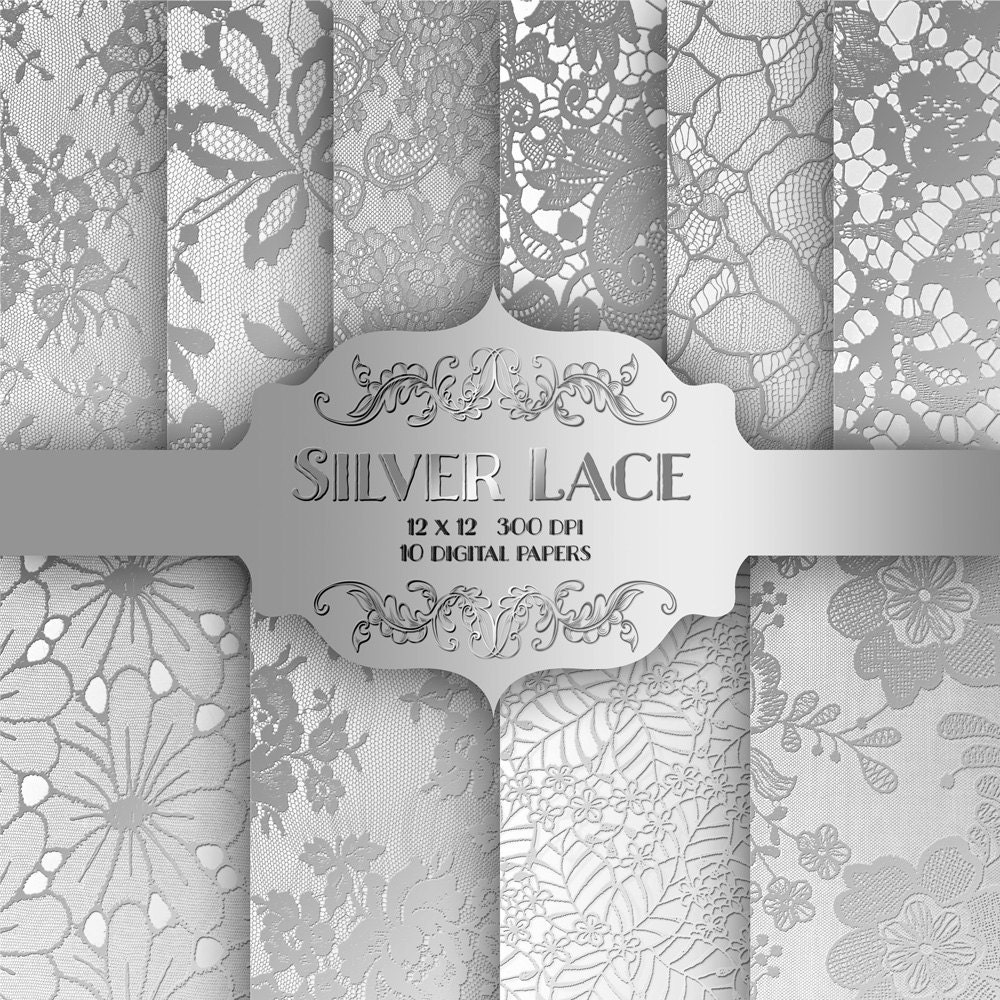 Silver LACE Digital Paper Pack Vintage wedding metal silver