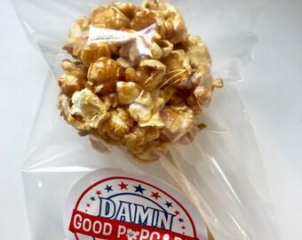 Gourmet Caramel Popcorn Ball on a Stick