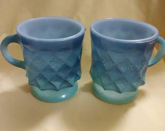 Vintage 1960's Anchor Hocking Fire King set of 2 Kimberly coffee cups. Retro #319. Made in the USA. Oven proof.