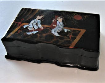 "Vintage Black Lacquer jewelry box with inset Mother of Pearl Design, 8"" x 5"", hinged trinket box, Asian Decor, women figures,  gift idea"
