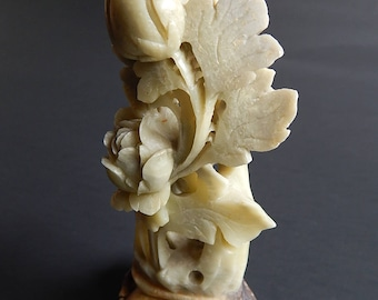 "4 1/2"" Soapstone Carved Roses + Leaves on Pedestal Statue Home Decor"
