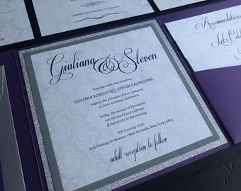 Metallic Purple & Silver Glitter Custom Pocket Wedding Invitation Suite  | Elegant Wedding Announcements | Script | Monogram | Invitations