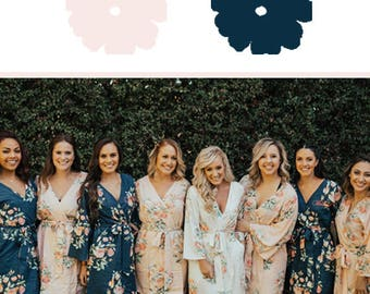 Blush and Navy Blue Wedding Color Bridesmaids Robes - Premium Soft Rayon - Wider Belt and Lapels - Wider Kimono sleeves