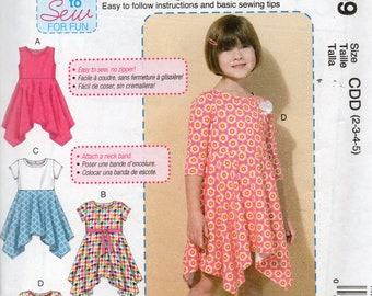 Learn to Sew McCall's Pattern 7309 SHAPED HEMLINE DRESSES Child Sizes 2 3 4 5