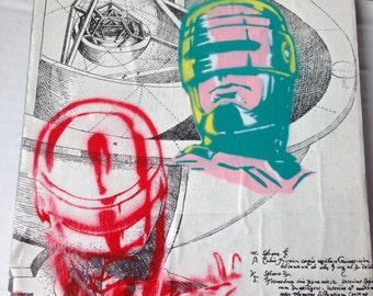 "ROBOCOP -- collage, stencil, spray paint (Original Painting #9) -- 8"" x 10"""