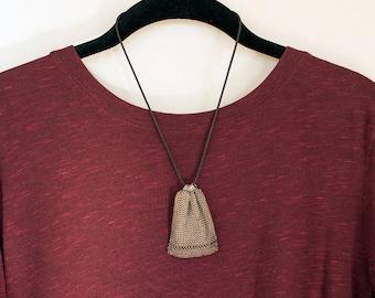 Sterling Silver Mesh Bag Neckpiece Chain Maille