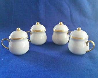 Pots de Creme Set/Chocolate Pots Set/Custard Pots Set/White and Gold Pots de Creme Set/Vintage Pots de Creme Set/Set of 4