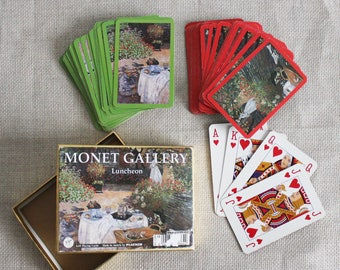 Vintage playing cards Monet gallery old boxed playing cards gift for card player collectable cards gift for father Austrian cards Piatnik