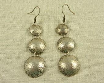 Vintage Hand Hammered Sterling Drop Earrings